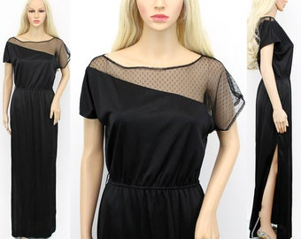 Vintage 70s Dress Medium - 70s Black Maxi Dress Asymmetrical Top - 70s Black Disco Dress - 1970s Phasell Dress - Long Black Dress Medium