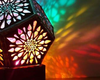Mandala lamp. Lampshade. Wooden Lamp. Desk lamp. Bedside Lamp. Rainbow lamp, Wacky Lamp, Table lamp. Modern Lighting. Moroccan Lamp