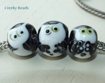 "Handmade Large holed lampwork beads "" TRIO! "" Creeky Beads SRA"