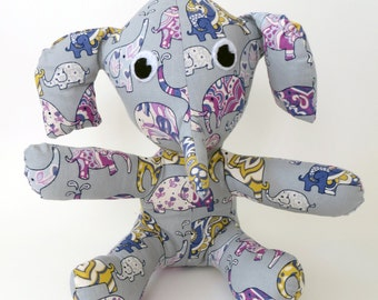 Purple and Mustard Elephants on Grey stuffed animal elephant toy