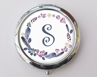 Personalized Compact Mirror, Custom Bridesmaid Gift, Purse Mirror