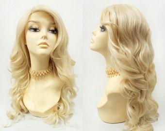 Long 21 inch Lace Front Blonde Wavy Wig with Premium Heat Resistant Fiber. Lace Part Wig. [111-514-Melanie-613]