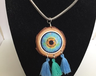Art eye by Momo wooden necklace with tassels