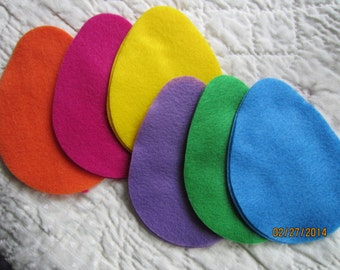 Large Felt Easter Egg Shapes- 12 Die Cut Felt Eggs-DIY Crafts-Easter Colored Felt Egg Shapes-DIY Felt Spring Kit