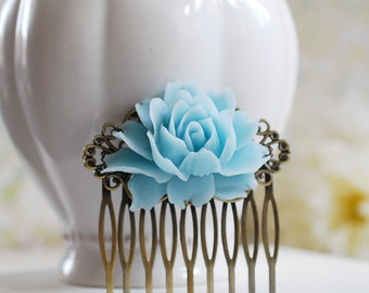 Baby Blue Rose Flower Hair Comb, Light Blue Wedding Hair Accessory, Bridal Hair Comb, Bridesmaid Gift, Country Wedding, Something Blue