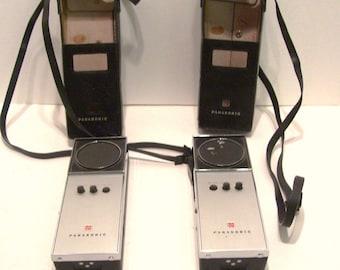 2 Panasonic Transceivers RJ6 in Cases Handheld Walkie Talkie Vintage 1966