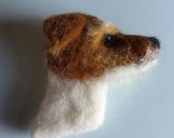 Needle Felted Jack Russell Terrier Dog Brooch