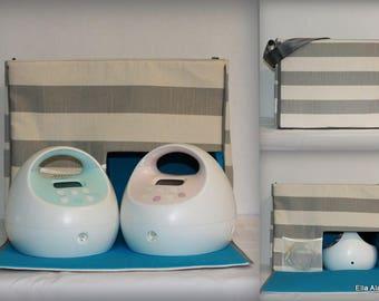 Ella style Spectra Breast Pump Bag in Gray stripe print with zipper top closure