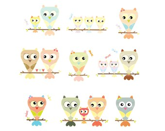Owls family clipart