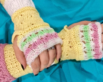 NEW LISTING! Pink, Yellow and White Fingerless Gloves