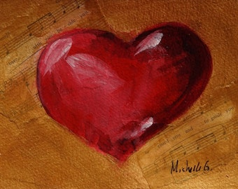 Anniversary Gift, Wife Gift, Original Painting, Red Heart, Gold, Phantom of the Opera, All I Ask Of You, Music Sheet, Love Song, Romantic