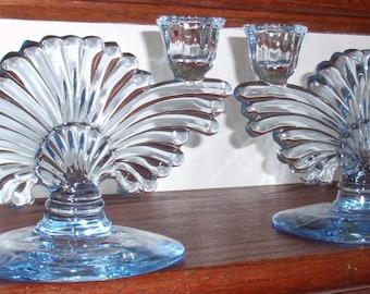 RESERVED:  ANTIQUE PADEN City Crystal Maya Copen Blue Double Candlesticks Art Deco Design Depression Glass Excellent Condition