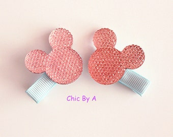 Set of 2, Minnie Mouse Hair Clips,Fish Extender, Baby Hair Clips, Infant Hair Clips, No-Slip Hair Clips, Toddler Barrettes, Baby Barrettes