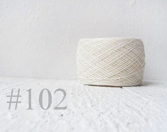Natural white Lace weight Linen yarn - white linen thread  #102
