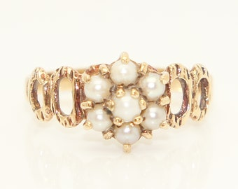 Vintage 1977 Grey Pearl Cluster Dress Ring, Size P