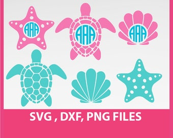 Sea Turtle Svg, starfish svg, sea star svg, sea shells svg, DXF, PNG Formats 0031