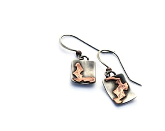 Mixed Metal Jewelry, Silver and Copper Mismatched Earrings, One Of A Kind Eco-Friendly Jewelry, Oxidized Silver Earrings, Geometric Earrings