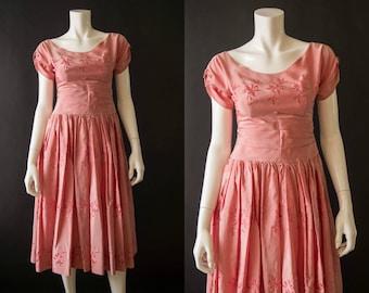 vintage 1950s dress / 50s pink party dress / xs / Tulip Dress