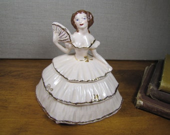 Vintage Colonial Lady Covered Trinket Dish