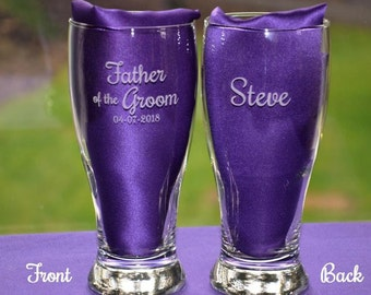Personalized Engraved Wedding Party Glass, Great Mother or Father of the Bride or Groom