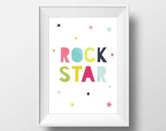 Rock star art quote print wall decal, Bedroom decor kids wall art kids decor rock star, Nursery children's download printable art colorful