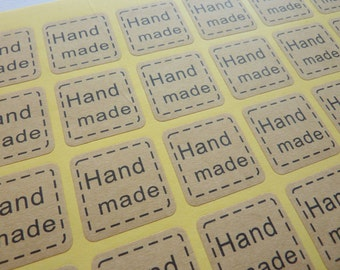 56 Brown Kraft Paper Square 'Hand Made' Stickers
