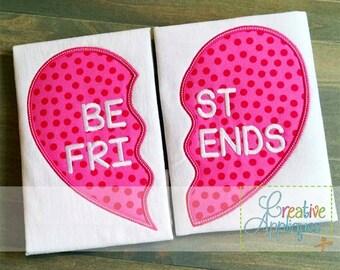 Best Friends BFF Split Heart Digital Machine Embroidery Applique Design 4 Sizes