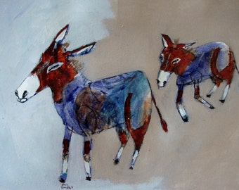 outsider EMERY orig painting 'donkeys find an opening'