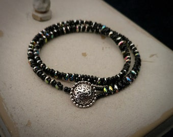 Women's Wrap Bracelet - Iridescent black beads and silver button. Fits 7 inch wrist wrapped twice.