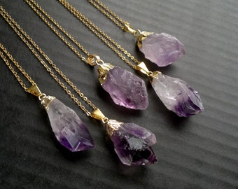 Amethyst Necklace Amethyst Pendant Gold Dipped Amethyst Crystal Neсklace Rough Amethyst Raw Mineral Purple Crystal Necklace Amethyst Jewelry
