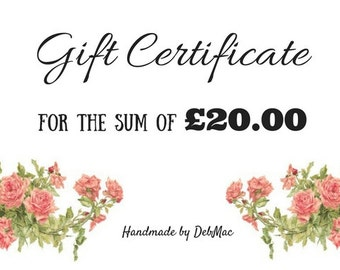 gift certificate, twenty pounds gift certificate, gift voucher, coupon,stocking filler, stocking stuffer,voucher code, last minute gift