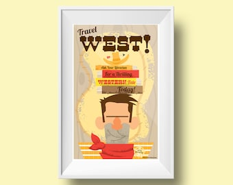 Kids Room Decor- Retro Cowboy Mid-Century Style Childrens/Library/Reading Poster (11X17 Inch): Travel West!