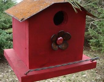 Red Birdhouse, Rustic Cottage Birdhouse, Outdoor Bird House, Functional Birdhouse, Garden Decor, Metal Flower