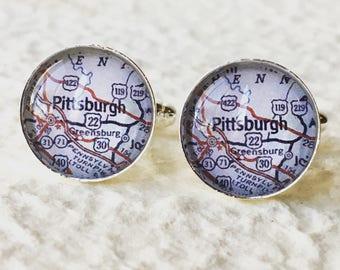 Pittsburgh Map Cufflinks Cuff Link Set