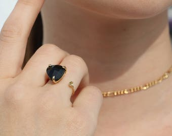 Black jet Glass Ring Component-Adjustable ring Size- Gold-Plated