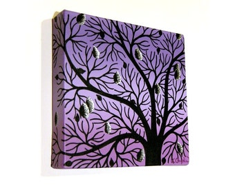 Lilac Tree Silhouette original acrylic painting - artwork of abstract black branches against a purple background, square canvas art