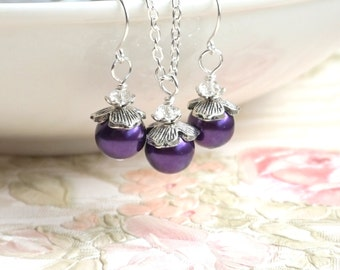 Purple Bridesmaid Jewelry Set of Necklace Earrings Dark Purple Bridesmaid gift Purple Wedding Bridesmaid Jewelry Set Wedding party Flower