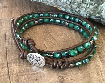 A1045 Leather Double Wrap Bracelet with Green Fire Polished Beads