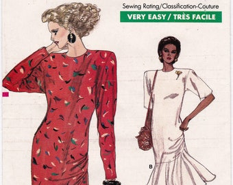 FF Very Easy Vogue 7033 Pattern, Misses Petite Flared Dress Vintage Sewing Pattern, 1980s Pattern, Size 8 10 12, Bust 31.5 32.5 34, UNCUT