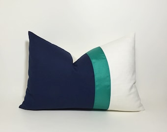 Lumbar Colorblock pillow cover ~ Navy with jade teal ribbon pillow cover. Navy & cream white accent throw pillow, home decor accent