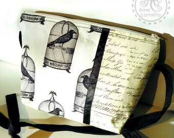 Small Gothic shoulder bag, black and white birds