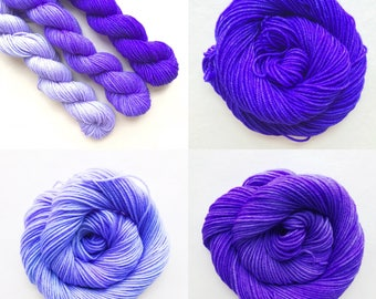 ULTRA VIOLET fade set of hand dyed yarn. Gradient ombre SET of 3 skeins. choose sock dk bulky yarn. choose base. deep - light purple yarn