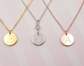 Round Circle Necklace initial pendant Necklace, Monogram Necklace, Personalized Initial Necklace,Initial Necklace, layering Necklace