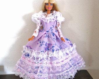 Barbie Dress Purple Flowered Dress