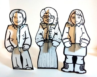 Color and Make Paper Doll Set of Three - Printable  Toy