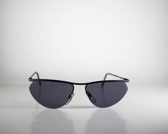 LUXOTTICA Vintage Sunglasses Unisex Black Metal Semi-Rimless 1980s LUXS159M-1