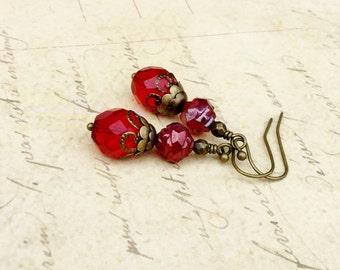 Red Earrings, Ruby Earrings, Victorian Earrings, Bridal Earrings, Flower Earrings, Antique Gold Earrings, Czech Glass Beads, Gift for Her