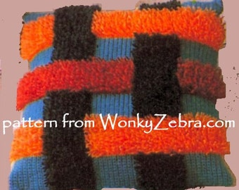 Vintage Crochet Shaggy Cushions Pattern PDF 701 from WonkyZebra