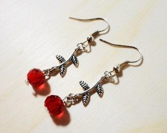 Red Flower Earrings, Crystal Bead Earrings, Silver Dangle Earrings, Beaded Drop Earrings, Beadwork Earrings, Women's Jewelry, Gift for Her