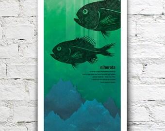 Nihorota illustration print – New Zealand native fish series. 2 sizes, limited series.